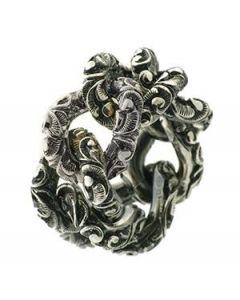 Anello Mariaeluisa catena morbida argento brunito handmade AA0029