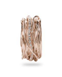 Anello Filodellavita collezione Classic handmade oro rosa diamanti bianchi AN13RBT