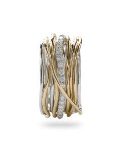 Anello Filodellavita collezione Classic handmade argento oro giallo diamanti bianchi AN13AGBT